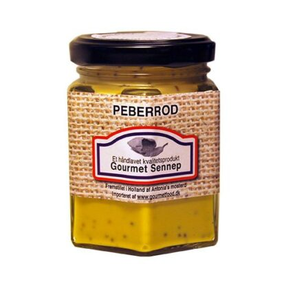 Sennep med peberod på glas