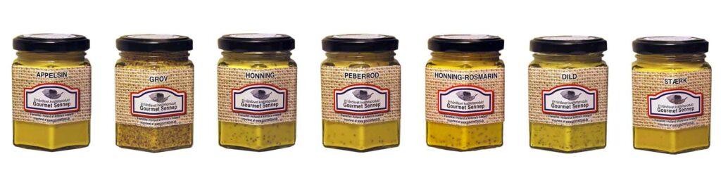Gourmet produkter - bl.a sennep i mange varianter græskarkerneolie og vinaigrette